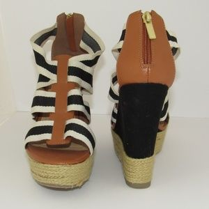 BLACK, BEIGE, AND CREAM HIGH WEDGES SIZE 9
